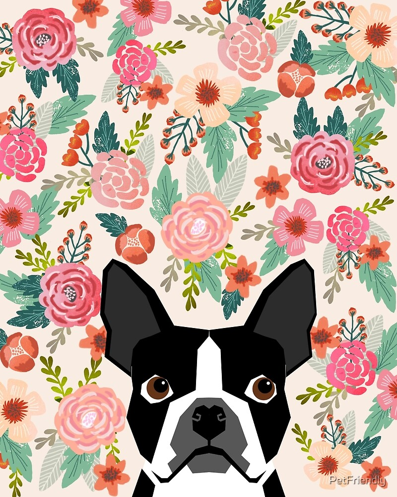 u0026quotboston terrier florals pattern print flowers spring summer cute dog portrait art print dog