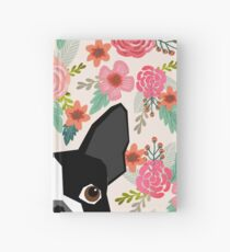 Boston Terrier florals pattern print flowers spring summer cute dog portrait art print dog breed gifts for dog person  Hardcover Journal