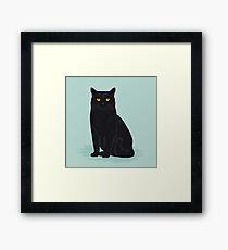 Black cat pastel mint cat breed cat lady gifts customizable pet portraits cute cat art Framed Print