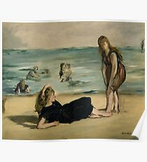 Edouard Manet - On the Beach 1868 , Impressionism  Seascape  Poster