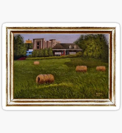 A LITTLE BIT OF COUNTRY, ACRYLIC PAINTING, DISPLAYED WITH SYNTHETIC FRAME Sticker