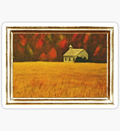 MOUNTAIN AUTUMN, ACRYLIC PAINTING, DISPLAYED WITH SYNTHETIC FRAME  Sticker