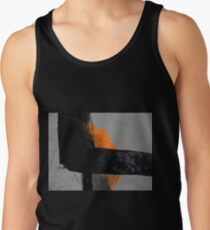 Minimal Orange on Black Tank Top