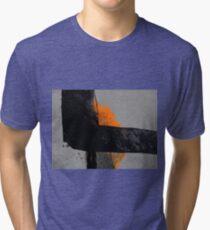 Minimal Orange on Black Tri-blend T-Shirt