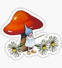 Red Toadstool with Little Gnome Girl and Daisies Sticker