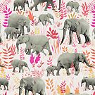 Sweet Elephants in Pink, Orange and Cream by micklyn