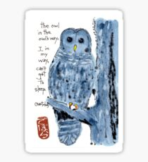 Barred Owl with Haiku Sticker