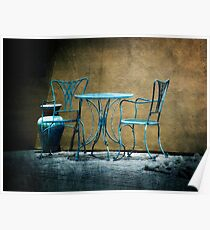 Table & Chairs in Blue Poster
