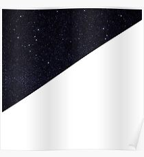 Modern Half Cut Starry Night and White Poster