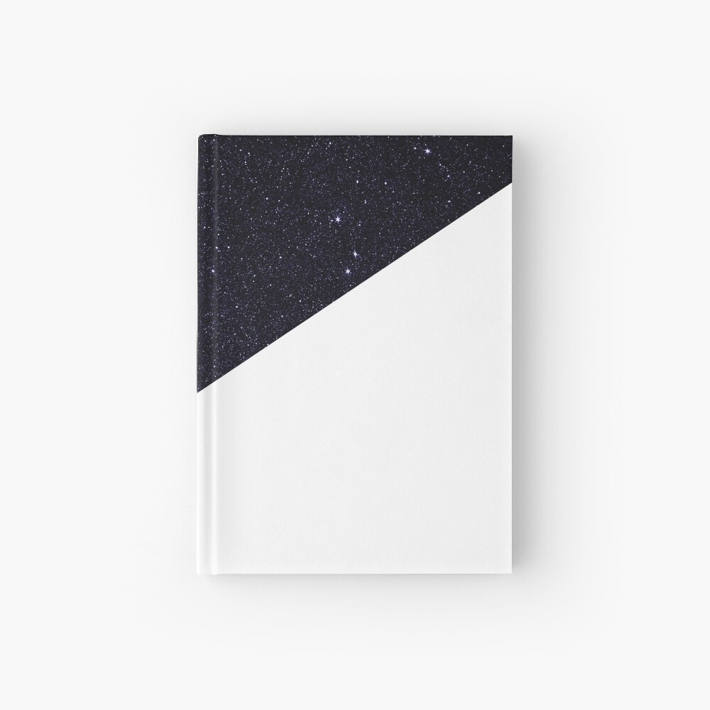 Modern Half Cut Starry Night and White Hardcover Journal