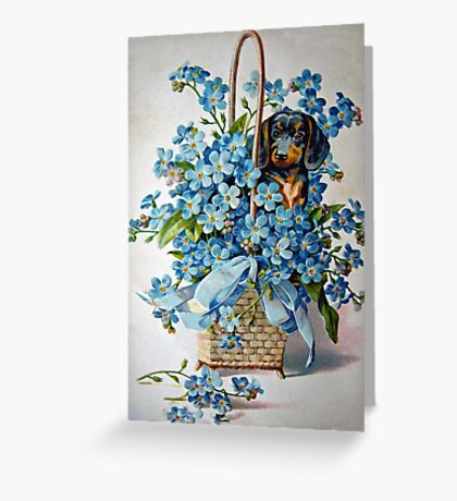 Dachshund and Forget-me-Nots Greeting Card