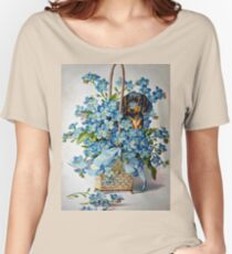 Dachshund and Forget-me-Nots Women's Relaxed Fit T-Shirt