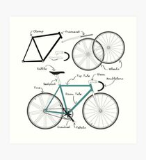 Fixie Bike anatomy Art Print