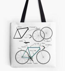 Fixie Bike anatomy Tote Bag