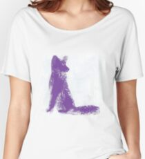 Purple Finger Painted Arctic Fox Women's Relaxed Fit T-Shirt