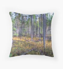 Pine trees in the marsh Throw Pillow