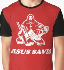 Jesus Saves Hockey Goalie Graphic T-Shirt