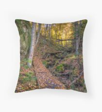 Walkway through the woods Throw Pillow