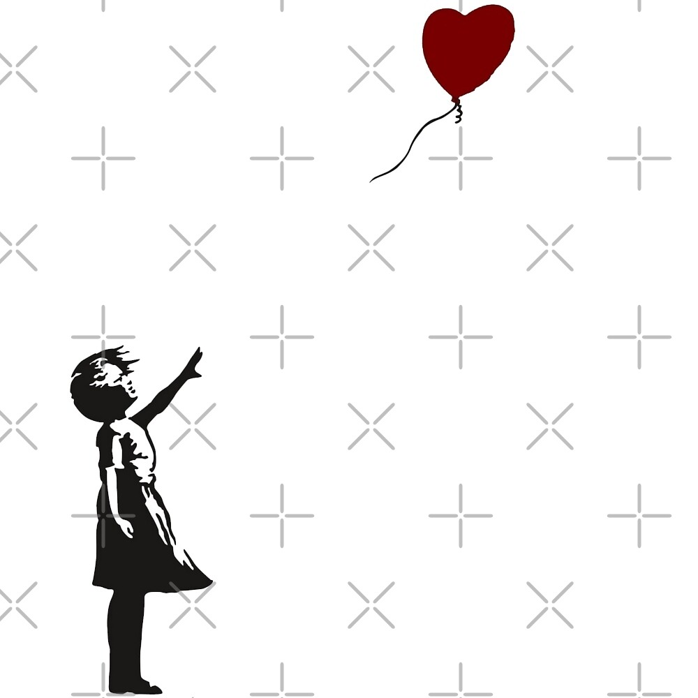 banksy girl with heart balloon by memegode redbubble. Black Bedroom Furniture Sets. Home Design Ideas