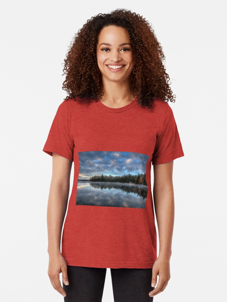 Alternate view of Reflected trees and sky Tri-blend T-Shirt