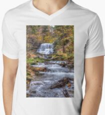 Forest waterfall V-Neck T-Shirt