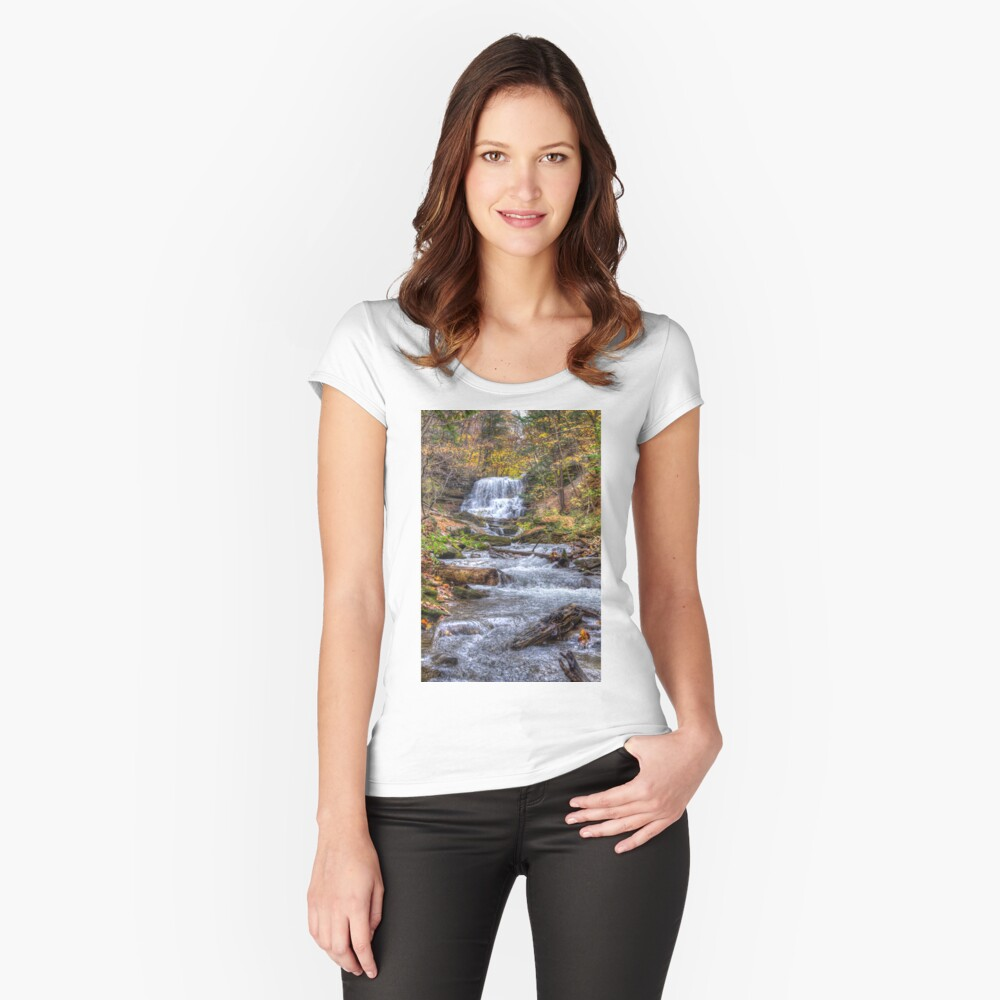 Forest waterfall Fitted Scoop T-Shirt