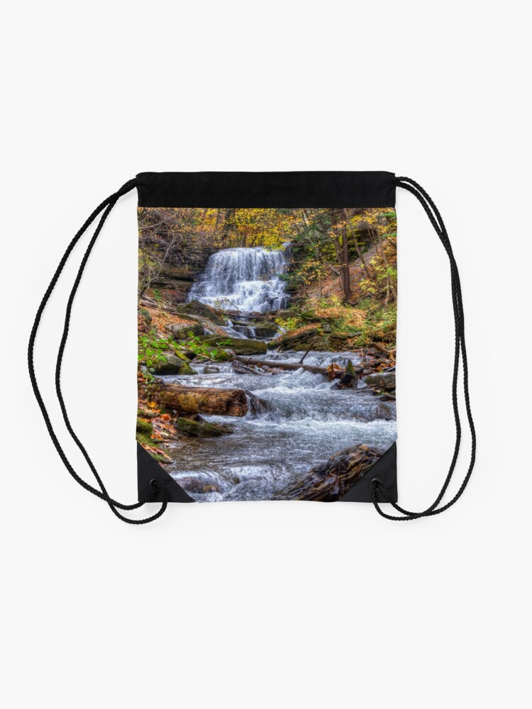 Alternate view of Forest waterfall Drawstring Bag