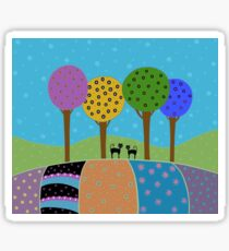 Black Cats - Colorful Landscape Sticker