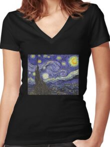'Starry Night' by Vincent Van Gogh (Reproduction) Women's Fitted V-Neck T-Shirt