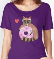 Raccoon Loves Giant Donut Women's Relaxed Fit T-Shirt
