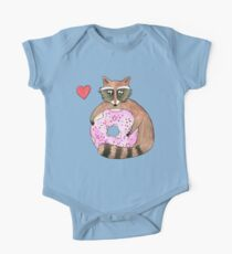 Raccoon Loves Giant Donut One Piece - Short Sleeve