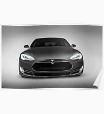 Gray Tesla Model S luxury electric car front view art photo print Poster