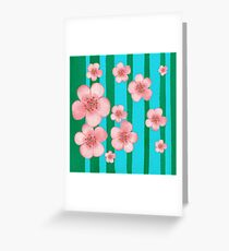 Pink Flowers Green Stripes for Baby Room Greeting Card
