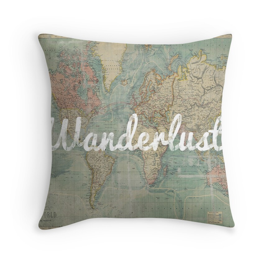 Throw Pillows With World Map : World Map: Throw Pillows Redbubble