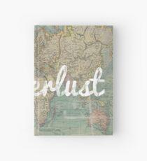 wanderlust on vintage map Hardcover Journal