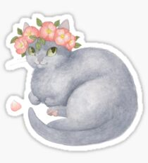 Grey Cat With Pink Flowers Sticker