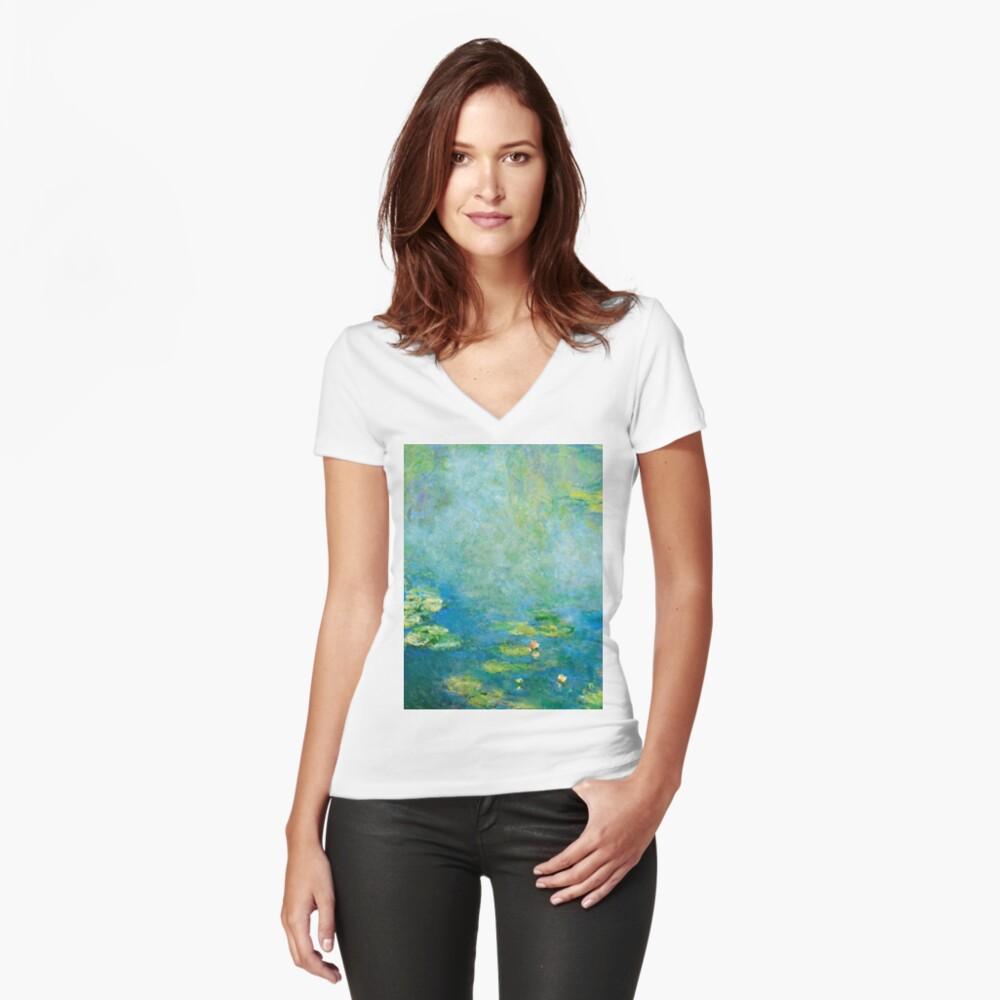 1906-Claude Monet-Waterlilien-73 x 92 Tailliertes T-Shirt mit V-Ausschnitt