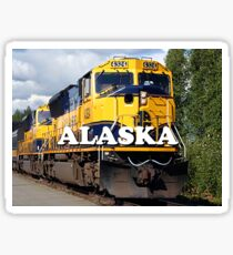 Alaska Railroad train engine (caption) Sticker