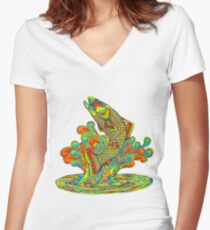 Psychedelic Rainbow Trout Fish Women's Fitted V-Neck T-Shirt