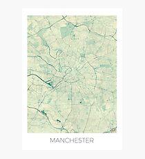 Manchester Map Blue Vintage Photographic Print