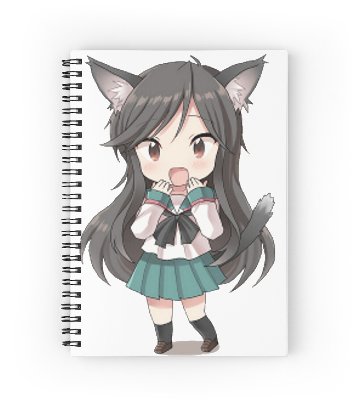 Anime cat girl chibi spiral notebooks by xithyll redbubble - Anime kitty girl ...