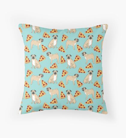Pizza Pugs cute pet portraits funny puggle puppy dog pizza junk food dog gift trendy hipsters Throw Pillow