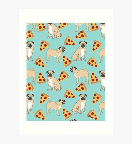 Pizza Pugs cute pet portraits funny puggle puppy dog pizza junk food dog gift trendy hipsters Art Print