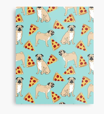 Pizza Pugs cute pet portraits funny puggle puppy dog pizza junk food dog gift trendy hipsters Metal Print