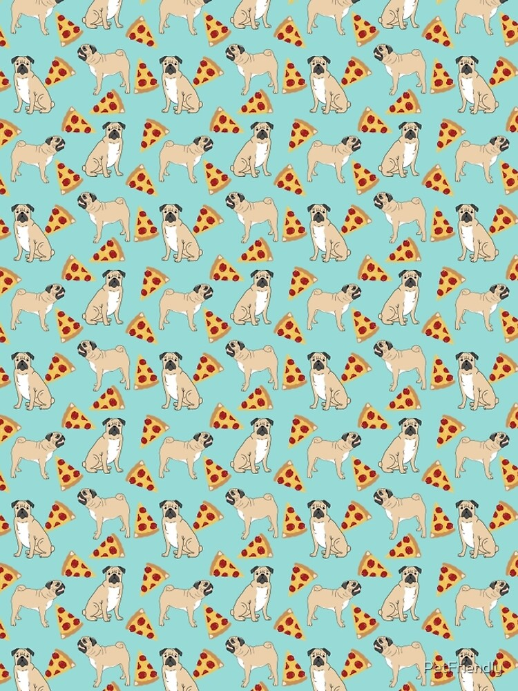 Pizza Pugs cute pet portraits funny puggle puppy dog pizza junk food dog gift trendy hipsters by PetFriendly