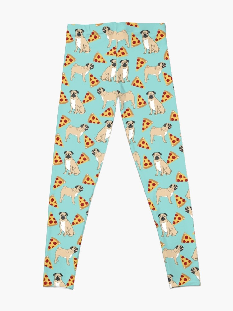 Alternate view of Pizza Pugs cute pet portraits funny puggle puppy dog pizza junk food dog gift trendy hipsters Leggings