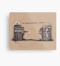 Time Traveling Phone Booth Metal Print