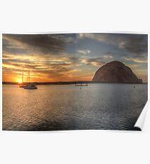 Morro Bay Rock Sunset HDR Poster