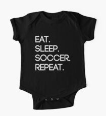 Eat. Sleep. Soccer. Repeat Short Sleeve Baby One-Piece
