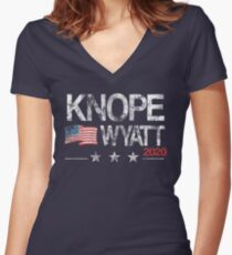 Knope 2020 Distressed Women's Fitted V-Neck T-Shirt